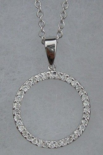 New CZ .925 Sterling Silver Eternity Chained Pendant
