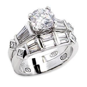 Brass, Rhodium, AAA Grade CZ, Clear Ring Size 7 (241)