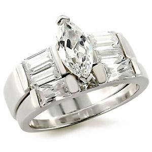 Brass, Rhodium, AAA Grade CZ, Clear Ring Size 6 (239)