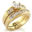 Gold Plated AAA Grade CZ Clear Ring Size 8 (245)