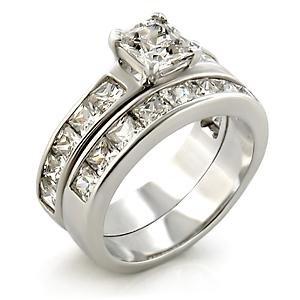 Brass, Rhodium, AAA Grade CZ, Clear Ring  Size 7 (246)