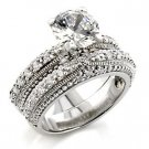Brass, Rhodium, AAA Grade CZ, Clear Ring Size 6 (249)