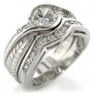 Brass, Rhodium, AAA Grade CZ, Clear Ring Size 7 (252)