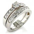 Brass, Rhodium, AAA Grade CZ, Clear Ring Size 5 (254)