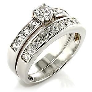 Brass, Rhodium, AAA Grade CZ, Clear Ring Size 8 (254)