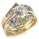 Brass, Two-Tone, AAA Grade CZ, Round, Clear Ring Size 6 (261)