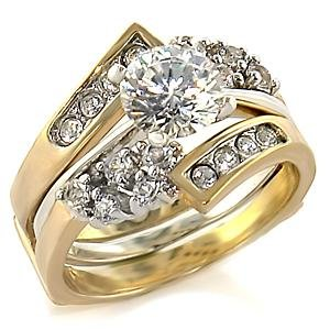 Brass, Two-Tone, AAA Grade CZ, Round, Clear Ring Size 7 (261)