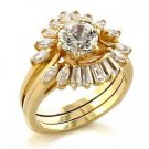 Brass, Gold, AAA Grade CZ, Round, Clear Ring Size 9 (263)