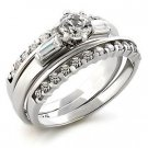 Brass, Rhodium, AAA Grade CZ, Clear Ring Size 6 (256)