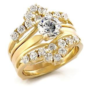Brass, Gold, AAA Grade CZ, Round, Clear Ring Size 7 (259)