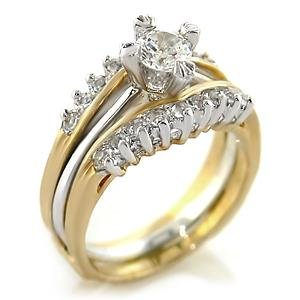Brass, Two-Tone, AAA Grade CZ, Clear Round Ring Size 7 (265)