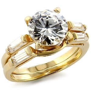 Brass, Gold, AAA Grade CZ, Round, Clear Ring  Size 8 (267)