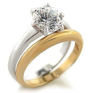 Brass, Two-Tone, AAA Grade CZ, Round, Clear Ring Size 6 (274)