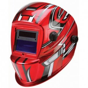 RED Auto Darkening Welding Helmet Racing Stripes