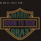 Mardi Gras hot fix rhinestone motif