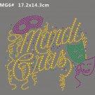 Mardi Gras rhinestone transfer motif