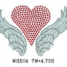 Heart with wing rhinestone transfer