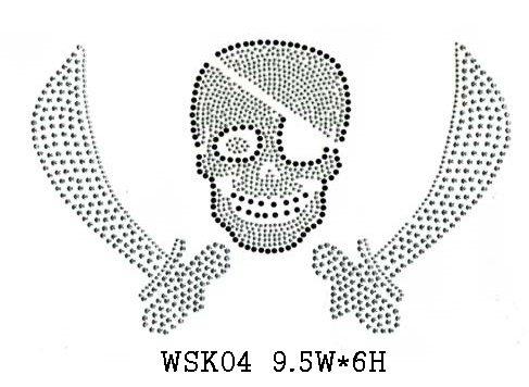skull design hot fix motif