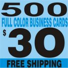 500 Custom Full Color Business Card  FREE SHIPPING