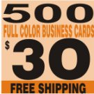 500 2 SIDES Custom Full Color Business Card  FREE SHIPPING