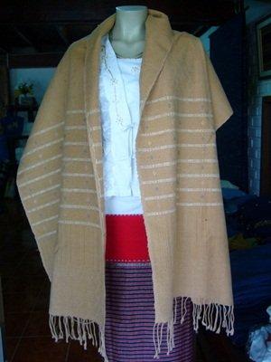 Thai organic cotton natural color hand woven shawl wrap