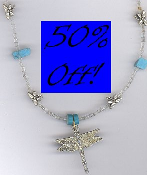 Dragonfly Pendant w/ Turquoise Necklace-50% OFF!!