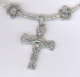 Cross Necklace w/ Flowers