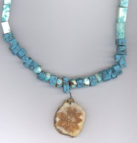 EXTREMELY RARE 9 Petal Lilac Necklace w/ Turquoise
