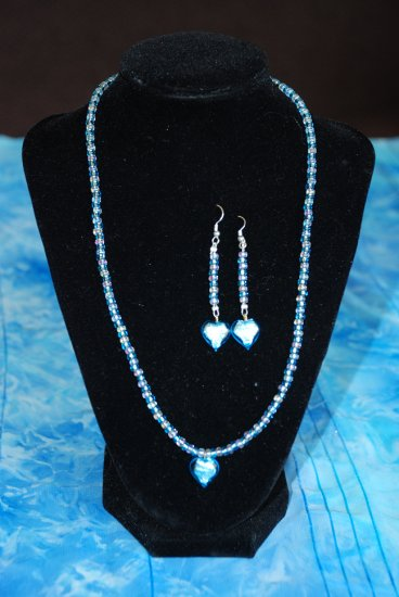Blue Heart Necklace w/ Matching Earrings
