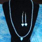 Blue Heart Necklace w/ Matching Earrings