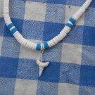 Blue Limestone White Puka Shell Shark's Tooth Necklace