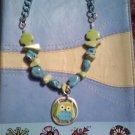 Turquoise Bottle Cap Owl Necklace 66