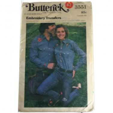 Butterick 3551 Embroidery Transfers Sewing PATTERN Size One