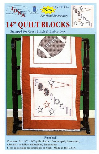 Jack Dempsey Stamped White Sport Themed Quilt Blocks, 14-Inch by 14-Inch, Football, 6-Pack