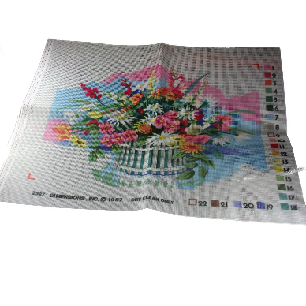 Dimensions Needlepoint Canvas 2327 Flower Basket