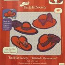 Red Hat Society Hattitude Set of Four Ornaments Embellished Cross Stitch #51542 By Candamar Designs