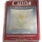 Cathy Needlecraft 7921 Yellow Daffodil Candlewick Pillow Kit 16 x 16 Inches