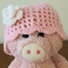 Infant girl's Beanie hat - Pink with white/pink flower
