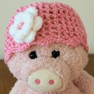 Infant girl's Beanie hat - Pink/white with white/pink flower