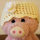 Yellow with white flower Infant girl's Beanie hat