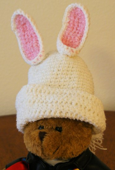 White Bunny Easter Hat with tail for Newborns