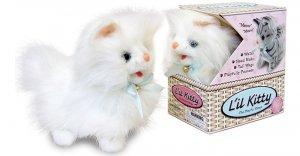 White lil Kitty little cute cat toy walks kitten meow