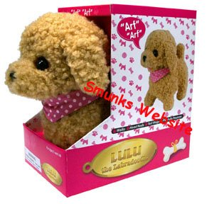 Lulu Labradoodle cute dog toy walks barks play fun NEW