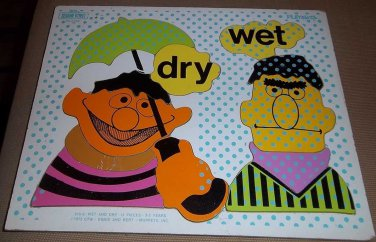 Vintage 1973 Playskool Ernie & Bert Dry Wet Wooden Puzzle Sesame Street Muppets