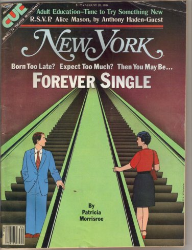 New York Mag 8/20/1984 Forever Single, Adult Education, Alice Mason, Times Tower