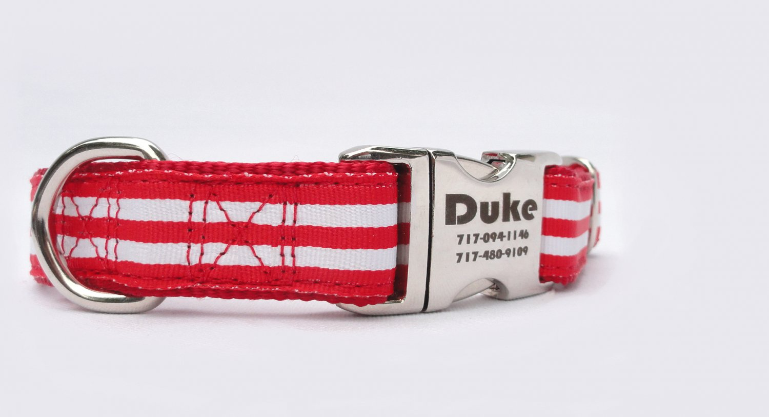 Laser Engraved Red and White Stripped Nylon Dog Collar 1 inch width by Ruggit Collars