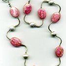"Rhodocrisite and Silver ""Squiggly"" Necklace"
