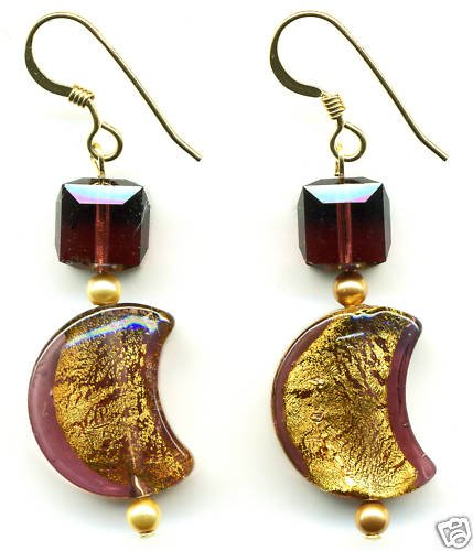 Venetian Glass, Turquoise and Crystal Earrings