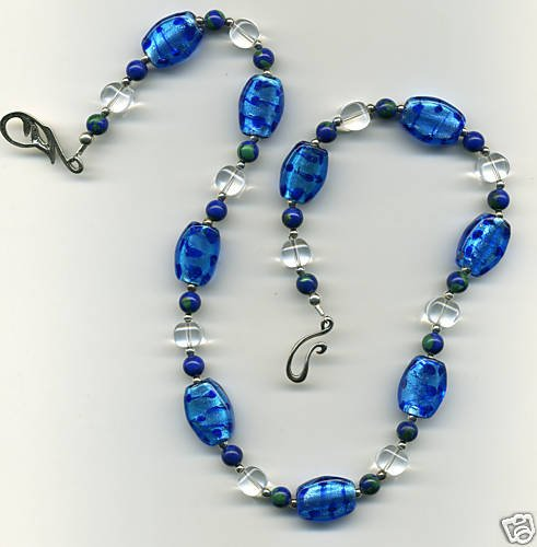 Blue Leopard-Spotted Bead Necklace