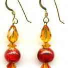 Topaz crystal and Venetian Glass Crystal Earrings